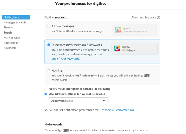 Notification preferences in Slack