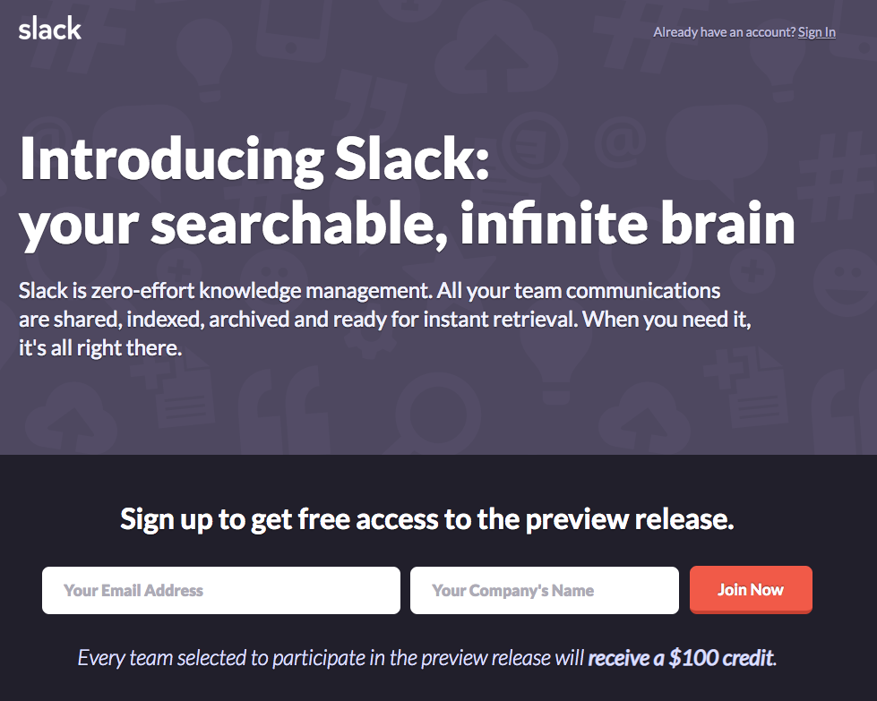 Slack's landing page in August 2013