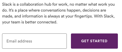 Slack sign up form