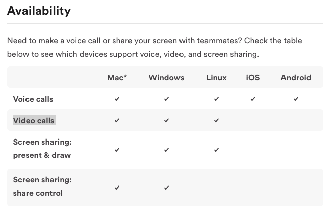 Voice, video & screen sharing