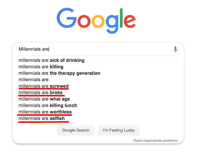 Google search for millennials