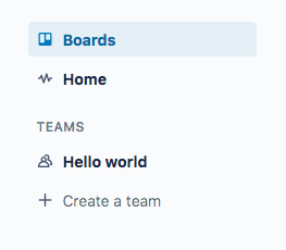 A snippet of the left panel in Trello