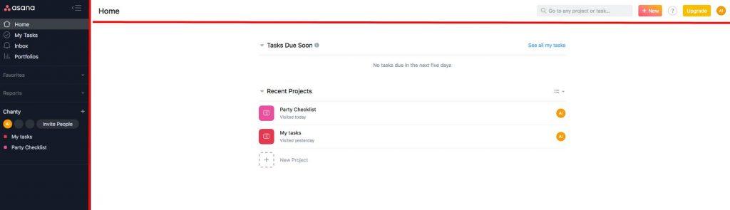 Asana user interface