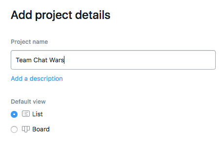 Choosing the default project view in Asana