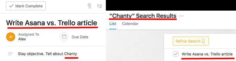 Search in Asana a phrase in a task description
