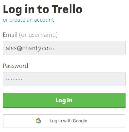 Logging in to Trello