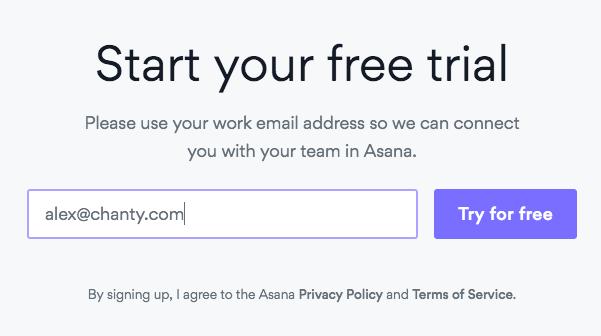 Signing up to Asana