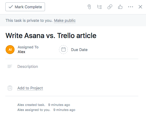 Specifying your task in Asana