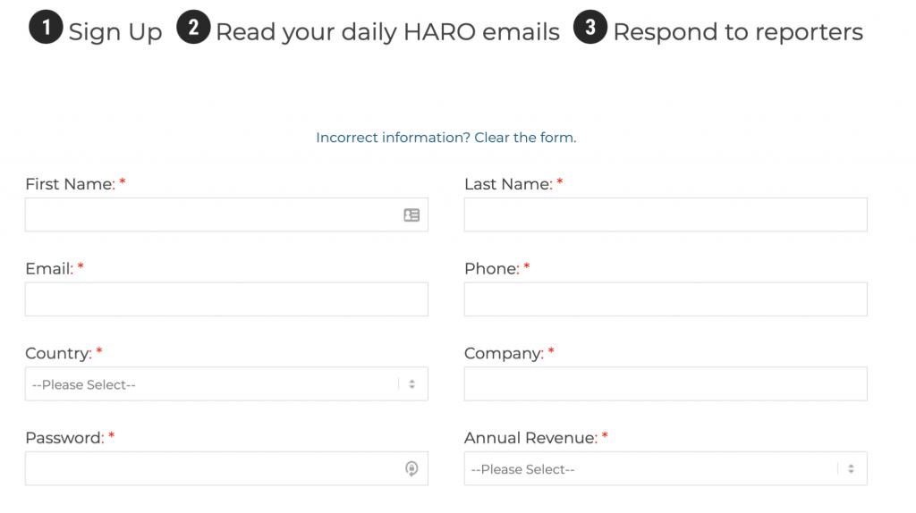 HARO signup
