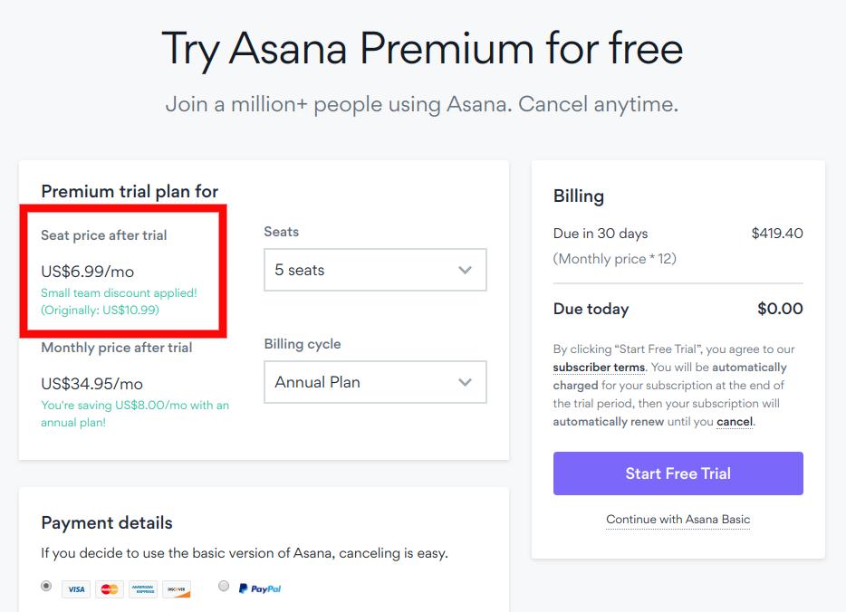 Asana premium for free