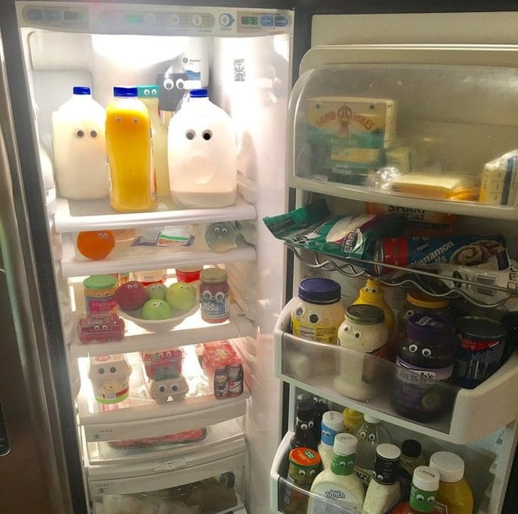 Googly eyes in the fridge