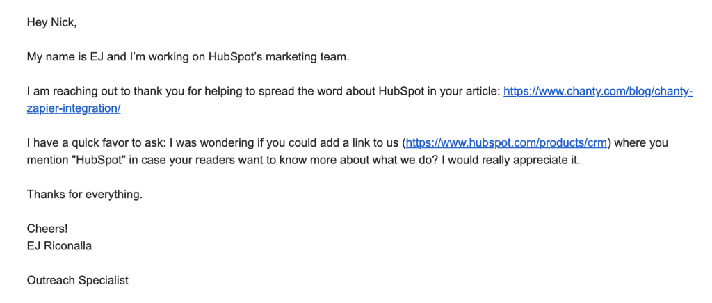 HubSpot email asking for a backlink from our website